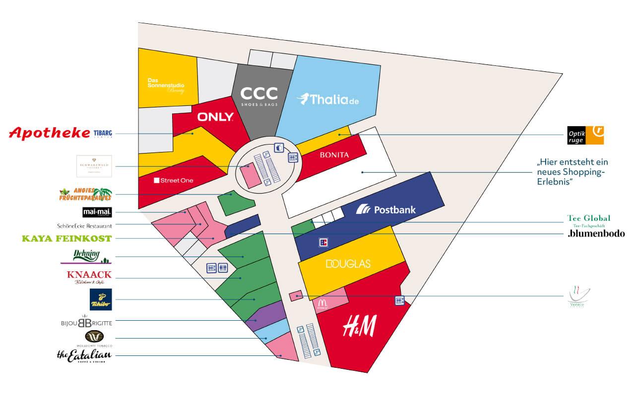 Tibarg Center Lageplan Erdgeschoss - Stand Juni 2020