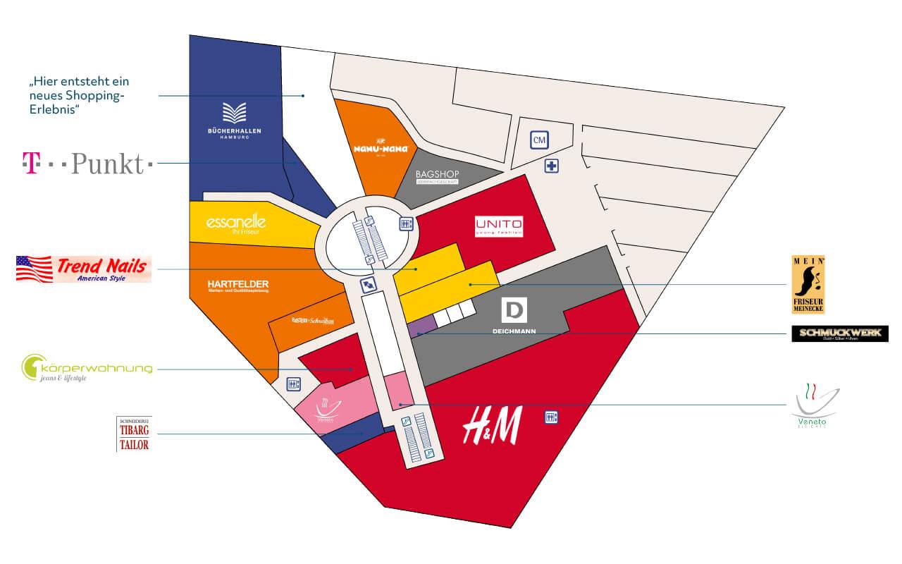 Tibarg Center Lageplan Obergeschoss - Stand Juni 2020