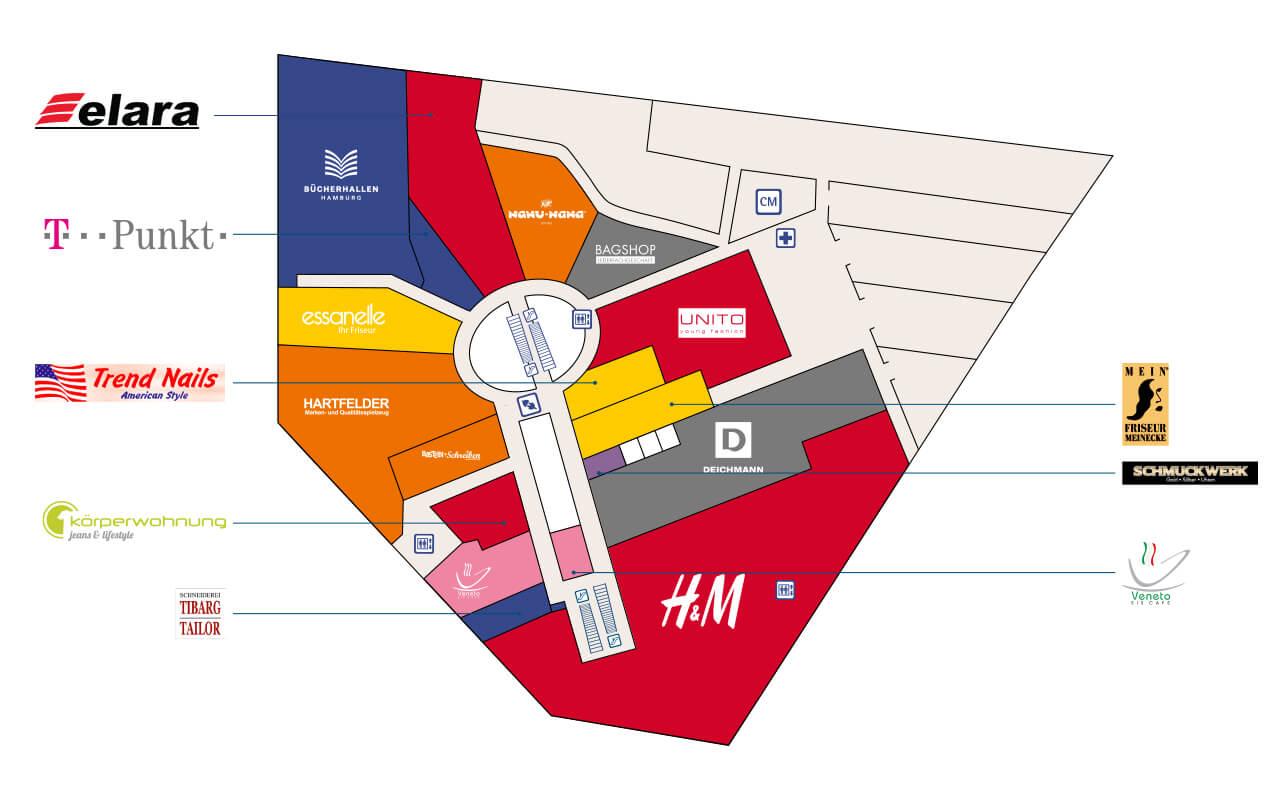 Tibarg Center Lageplan Obergeschoss - Stand Juli 2020