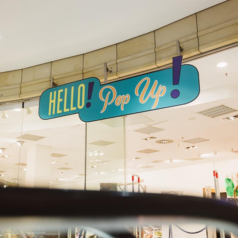 Hello! Popup! Bereich Tibarg Center Frontalsicht