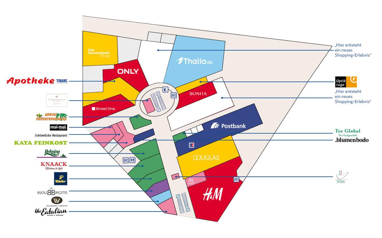 Tibarg Center Lageplan Erdgeschoss - Stand Dezember 2020
